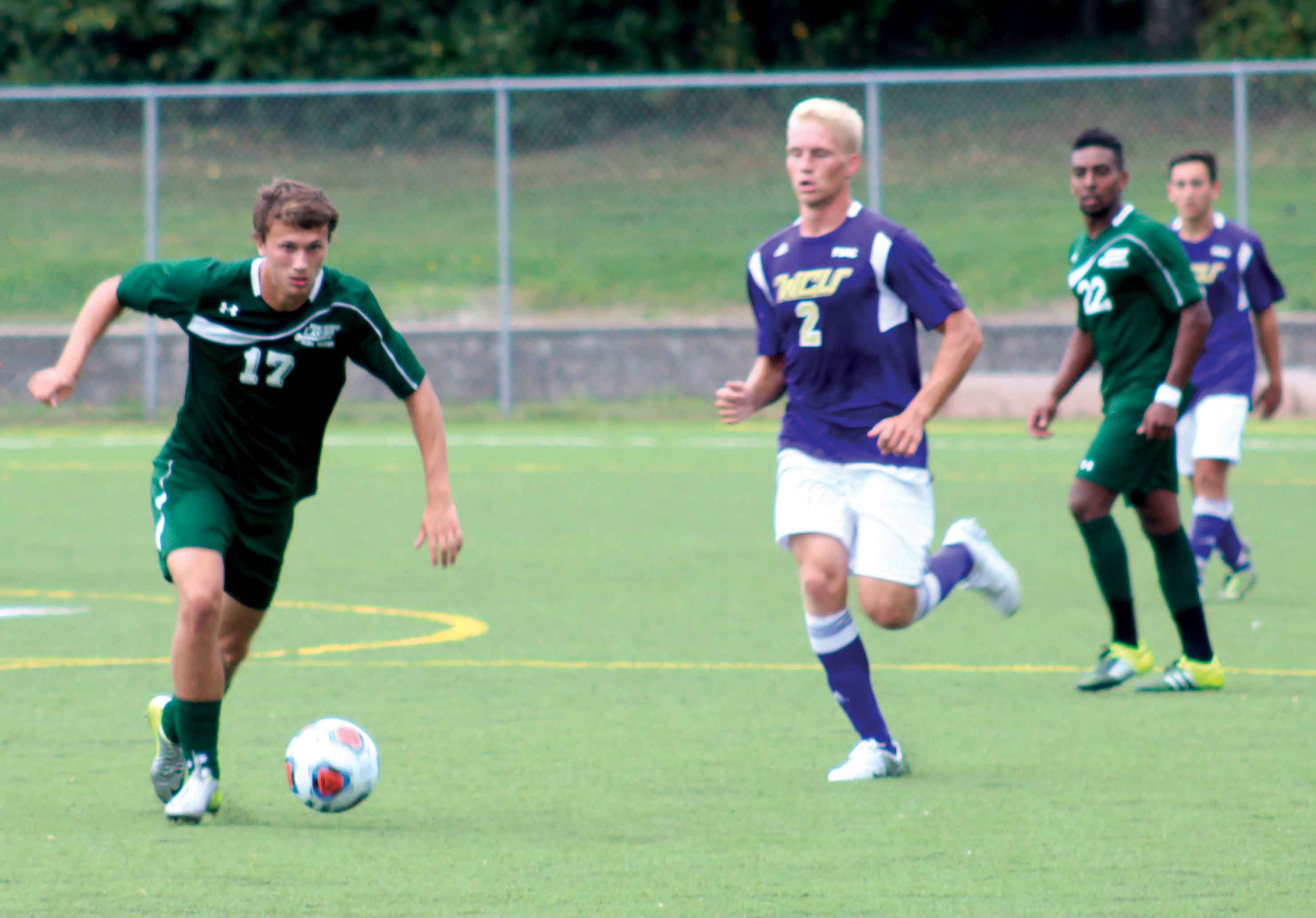 Junior Joseph Korb (17) scored the Lakers winning goal in double overtime giving the Lakers a 3-2 win over West Chester.