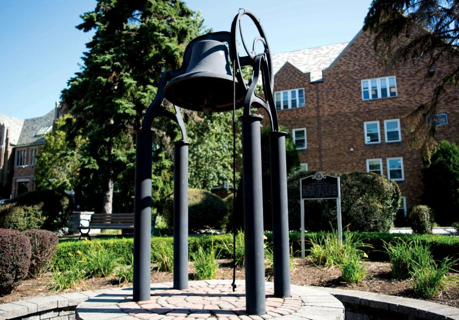 The Victory Bell located in Garvey Park was a senior gift from the class of 2004. It was given in memory of Sister Damien Mlechick who would ring her cowbell during sporting events.
