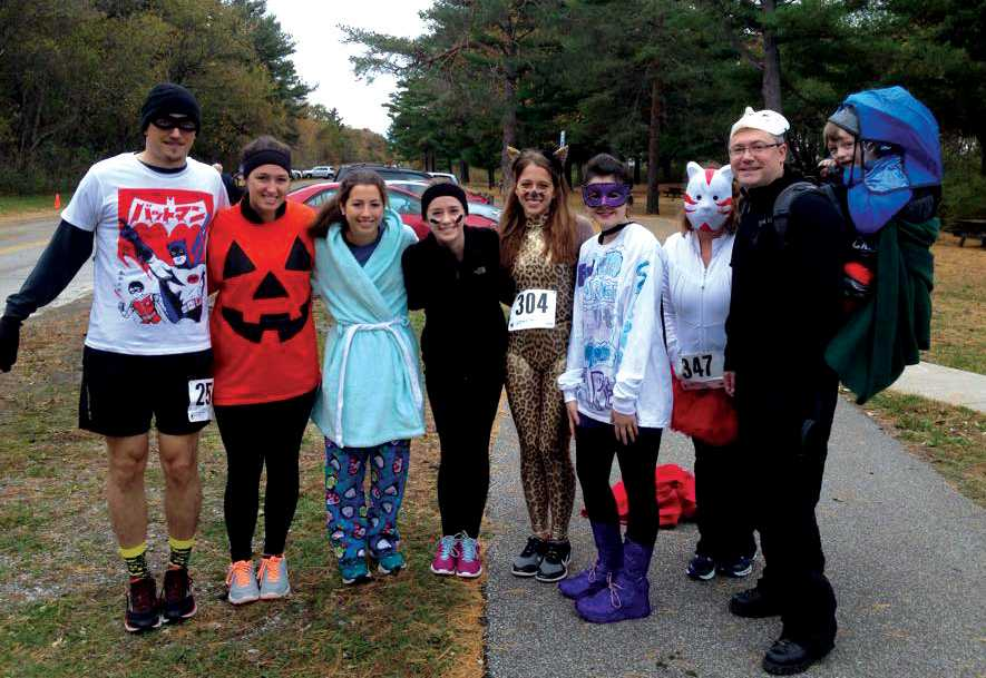 Public Health Club students and professors dressed up for the Boo Run, sponsored by SafeNet.