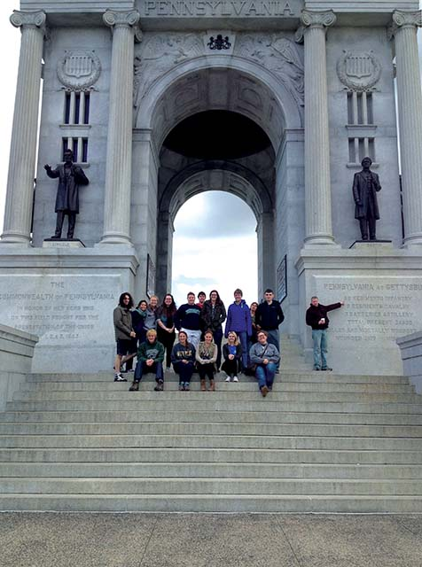 Public+History+students+visited+the+Pennsylvania+Memorial+at+Gettysburg+National+Military+Park.+For+three+days%2C+students+toured+some+of+the+most+significant+Civil+War+sites+in+the+country.