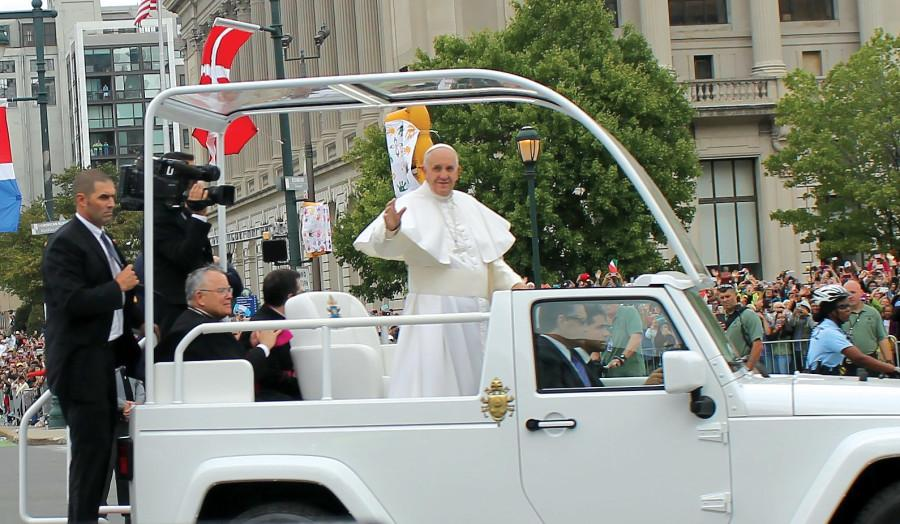 Many Mercyhurst students were able to get close enough to Pope Francis to snap a few pictures as he drove by in his popemobile in the streets of Philadelphia.