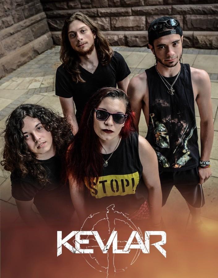 """Kevlar"" singer Kelci Guzzo, center, mixes college and touring."