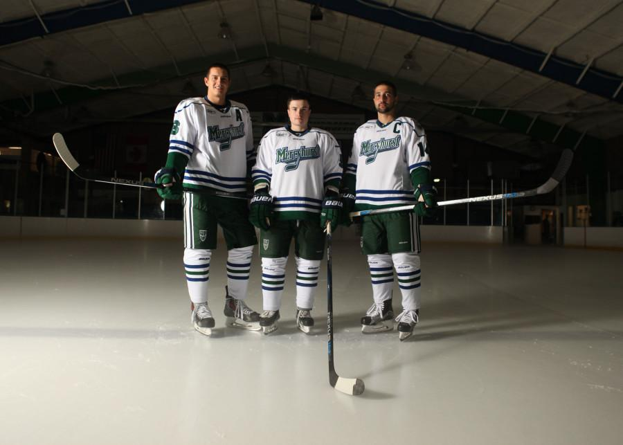 From left are seniors Kyle Cook, Michael Monteith and Anthony Mastrodicasa. Not pictured Spencer Bacon