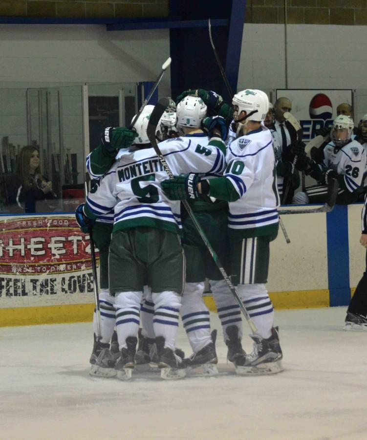 Teammates+on+the+men%E2%80%99s+hockey+team+celebrate+after+a+goal+scored+during+Saturday%2C+Feb.+13%E2%80%99s+2-2+tie+against+Niagara+University.+Goals+were+scored+by+Lester+Lancaster+and+Kane+Elliot.+