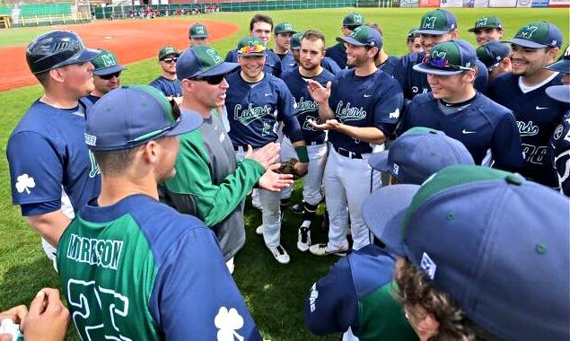 Baseball+Head+Coach+Joe+Spano+claims+his+500th+career+win+in+the+Lakers+8-1+win+over+LeMoyne+College+on+Sunday%2C+Feb.+21.+Spano+has+been+Head+Coach+of+the+baseball+team+since+2000.+