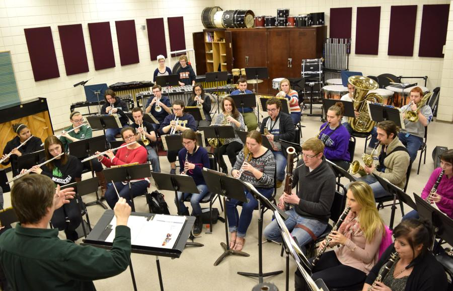 The Mercyhurst University Wind Ensemble rehearsing for the Tri-State Music Festival.