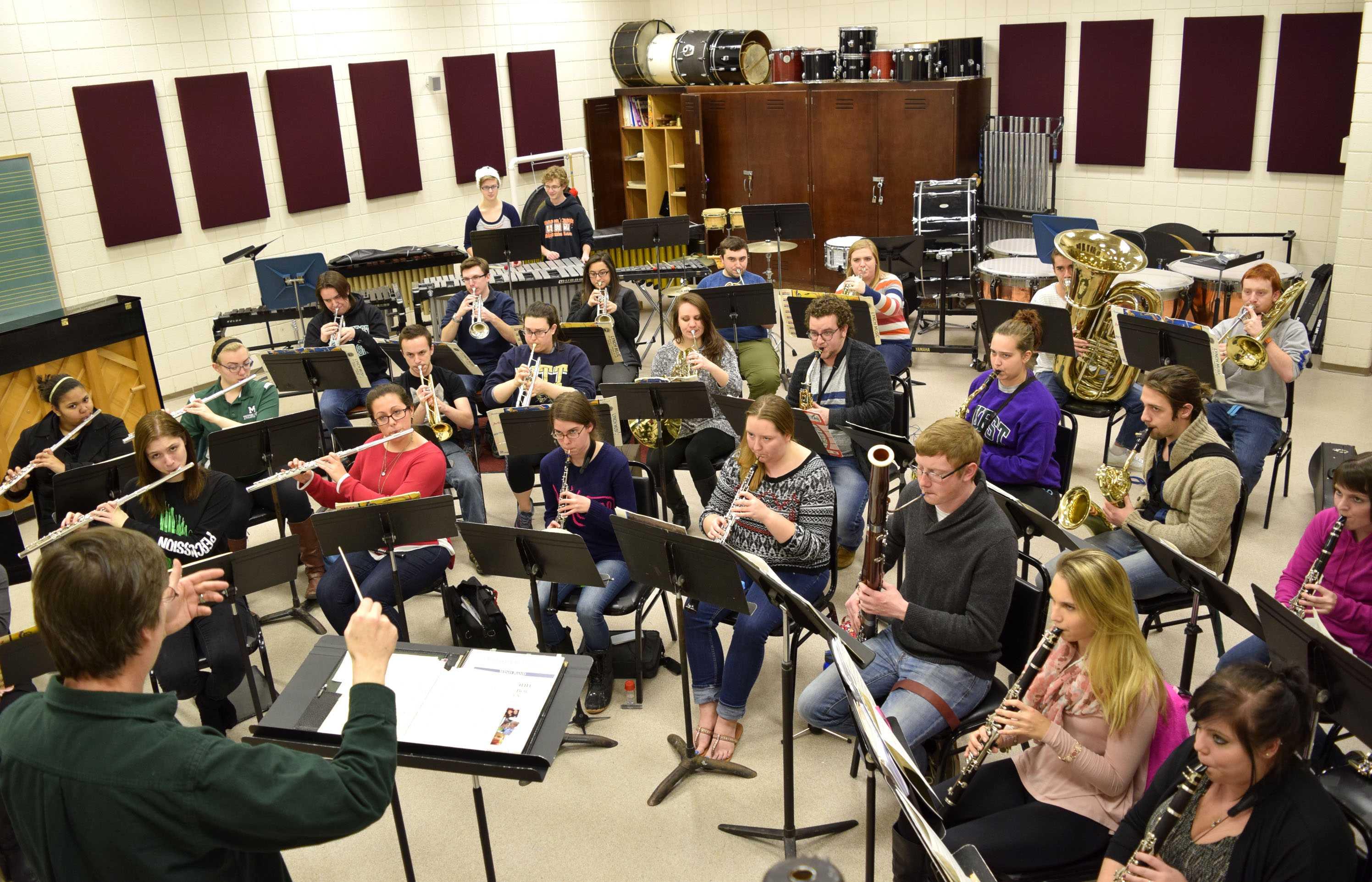 The Mercyhurst University Wind Ensemble rehearsing for the Tri-State Music Festival.