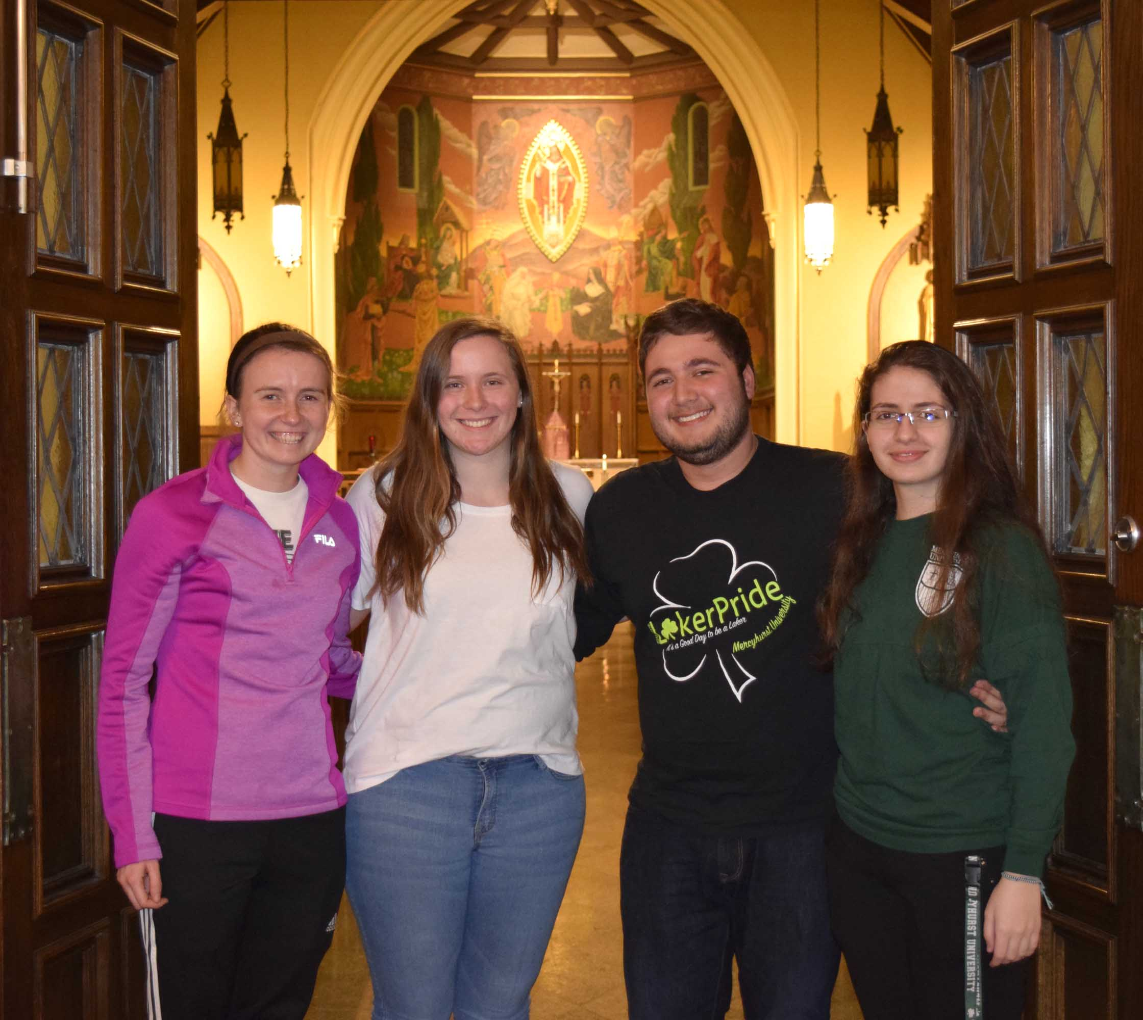A team of student leaders plan Catholic Devotions each week. From left to right: Mary Jaskowak, Rebecca Harms, Sergio Cortes and Nour Hijazeen.