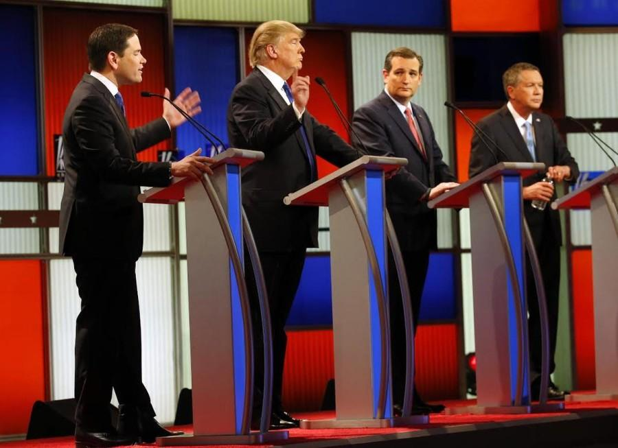 Republican presidential candidates (from L to R) Marco Rubio, Donald Trump, Ted Cruz and John Kasich debate on March 3, 2016 in Detroit, MI.