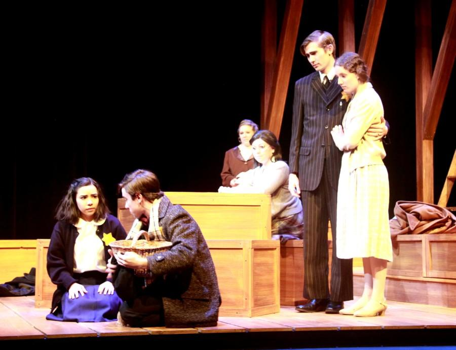 Freshman Rose Pregler who plays Anne Frank, pictured on the far left.