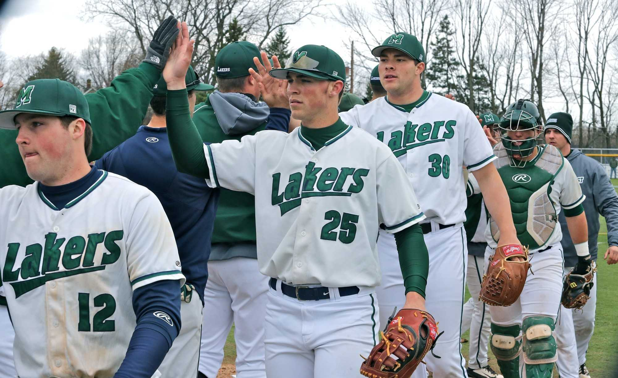 The Lakers beat Pitt-Johnstown 8-2 on Saturday, April 16. This was an important victory for Mercyhurst's momentum. They were 27-9 at that time. Players from left to right: Austin Alonge, Hank Morrison and Colin Mckee.