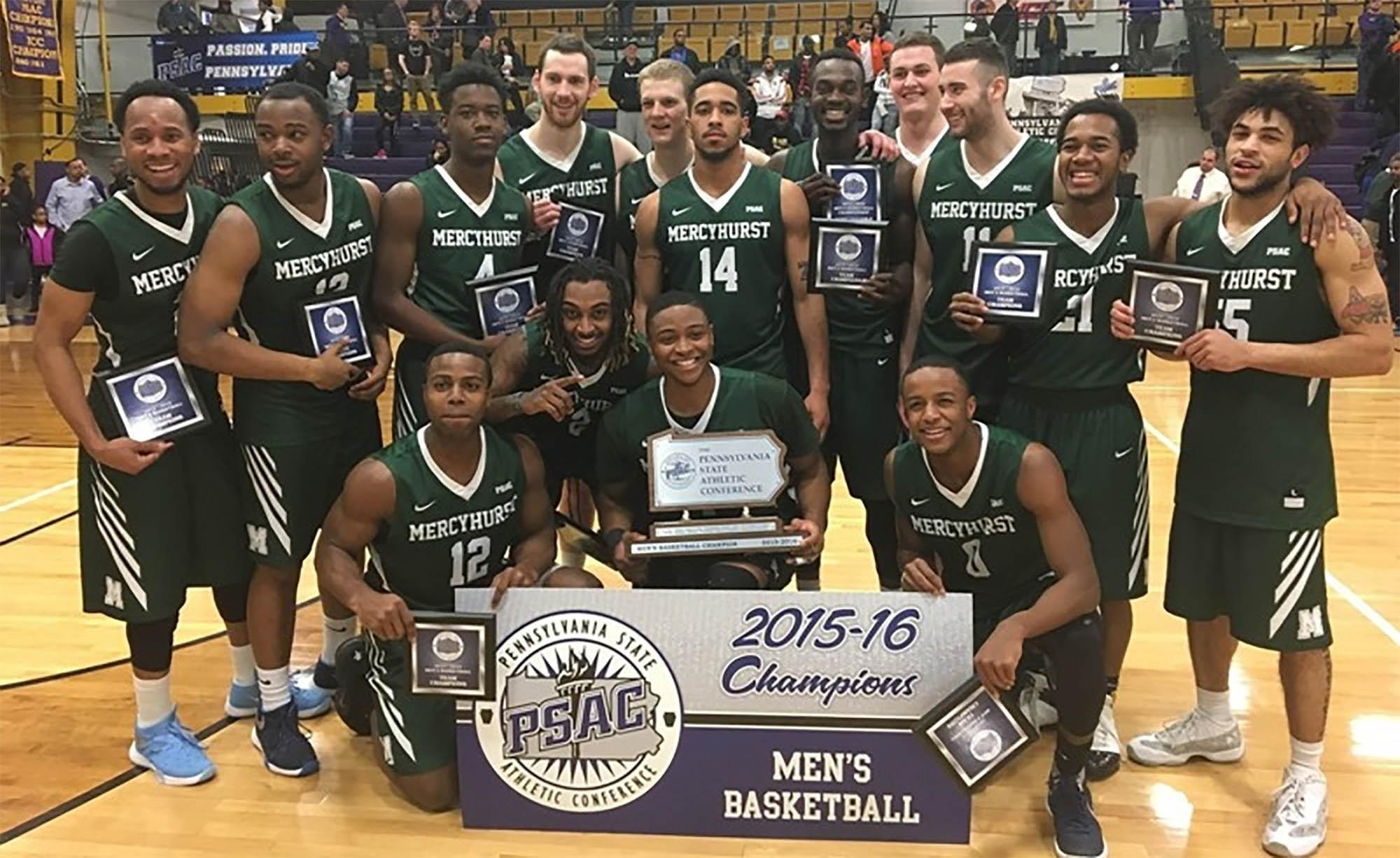 Men's basketball team wins 2015-2016 PSAC championship for the first time in its history on March 6
