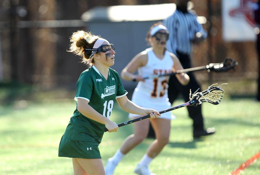 Senior Emily Koestler (above) scored one goal, her third of the season, in the Laker's  15-10 win over Roberts Wesleyan.