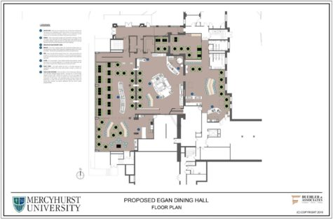 The floor plan shows where the relocated food stations will stand.