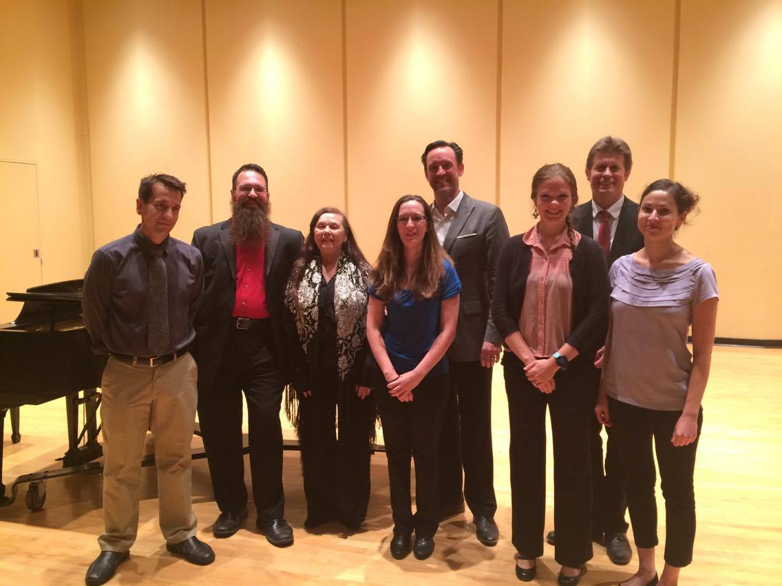From left to right: Jonathan Nolan, Jonathan Moser, Louisa Jonason, Rebecca Wunch, James Bobick, Sarah Elizabeth Lee, Nathan Hess, D.M.A., and Hilary Philipp gave the first performance of the season for the Faculty Recital series