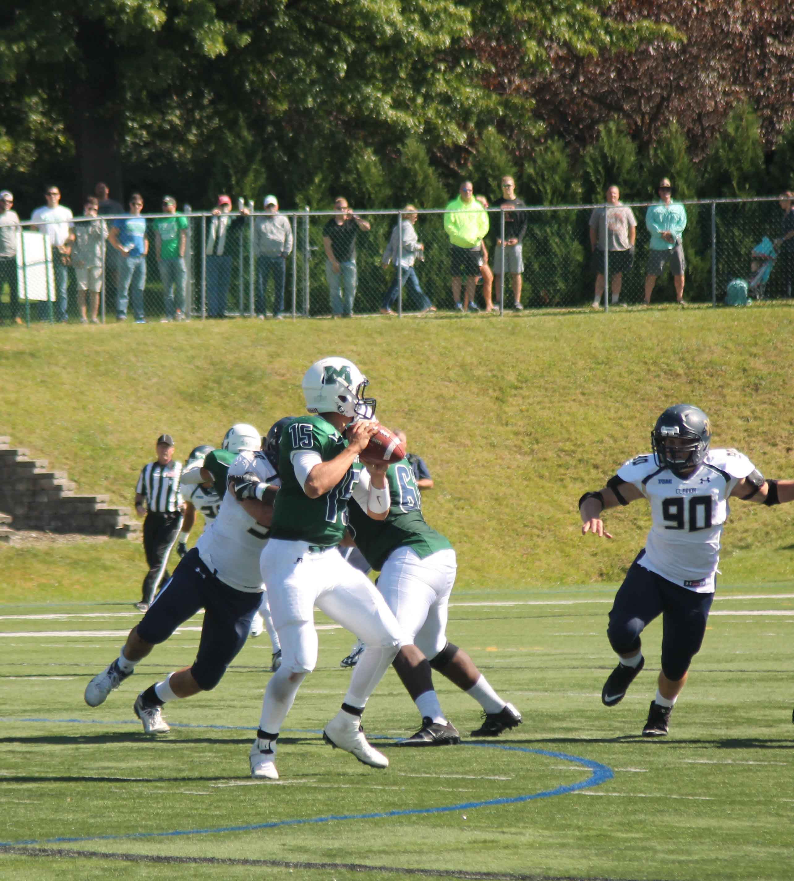 Quarterback Doug Altavilla threw a 19-yard touchdown pass to wide receiver Brad Novak in the fourth quarter, but it was not enough to put Mercyhurst over Clarion. The Lakers lost 35-34.