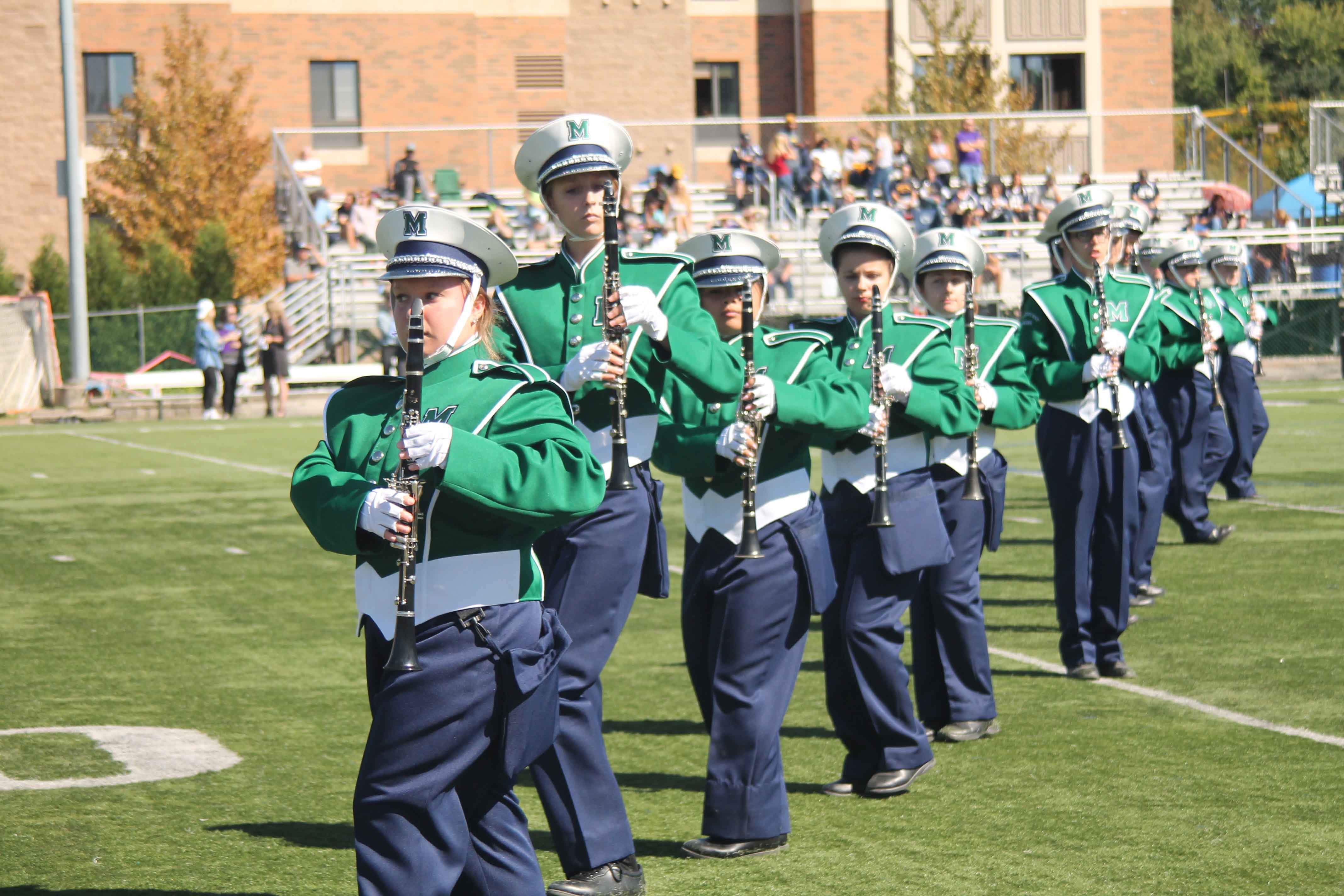 The Mercyhurst University Marching Band boosted Laker spirit while performing during the Homecoming football game on Sept. 24.