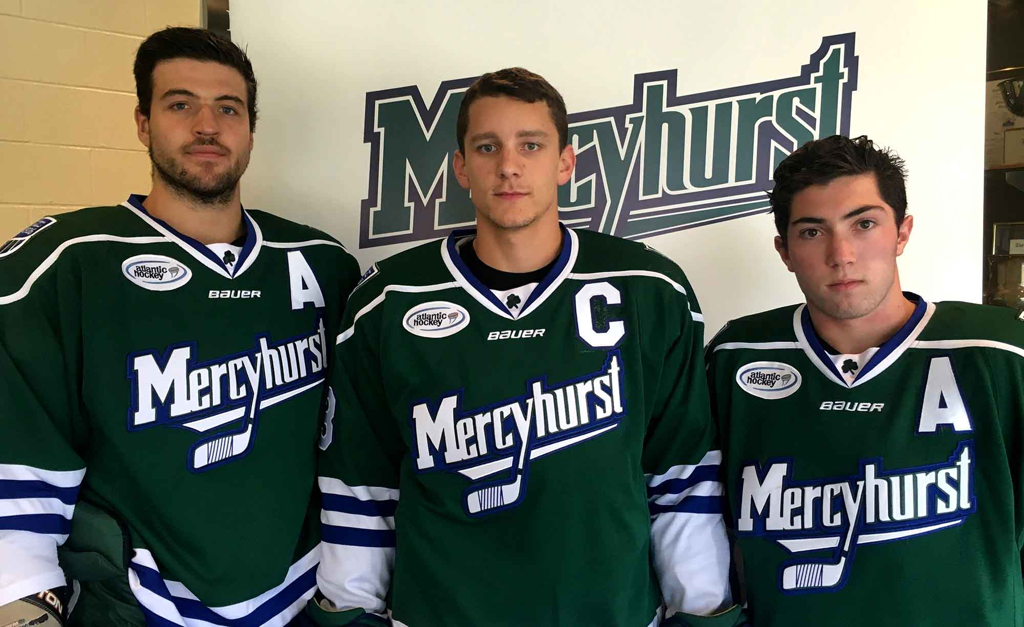 From left to right, Mercyhurst men's ice hockey Alternate Captain Kyle Dutra, Captain Jack Riley and Alternate Captain Derek Barach are ready for Saturday's exhibition game.