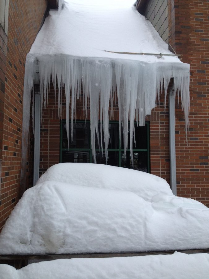 Icicles hanging from the Herrmann Student Union during the harsh winter in early 2015.