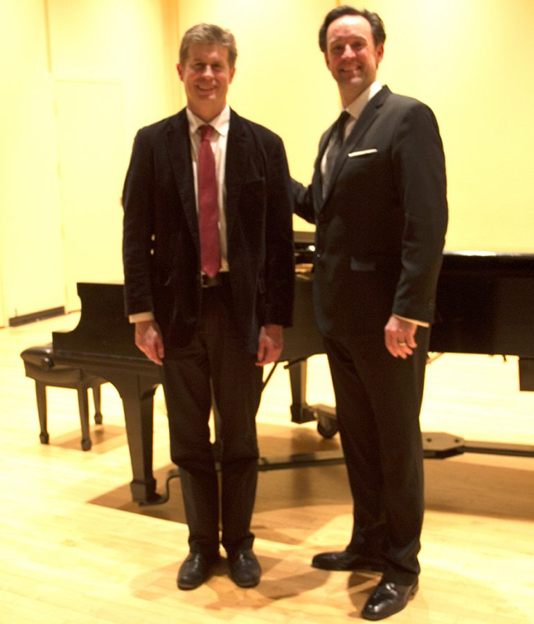 Nathan+Hess%2C+D.M.A.%2C+left%2C+and+James+Bobick%2C+right%2C+after+Bobick%E2%80%99s+recital+on+the+Nov.+9.+
