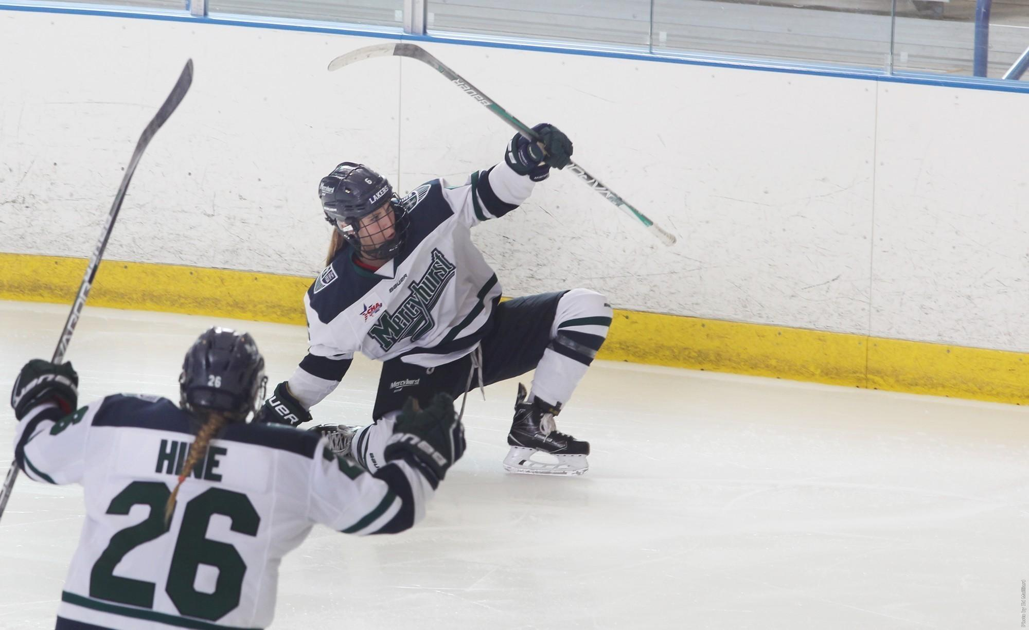 Women's ice hockey ties series against Pennsylvania State University at Mercyhurst Ice Center. The Lakers won the first match, 6-4, and lost the second one, 3-2.