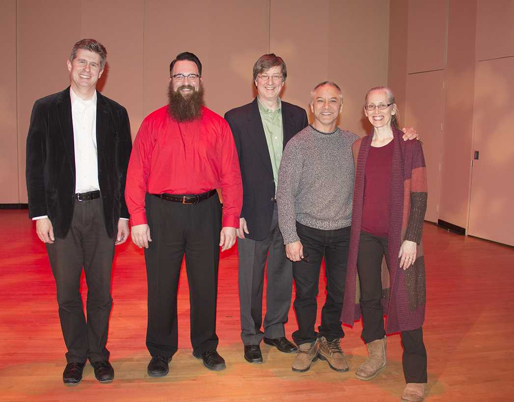 From left to right: Nathan Hess, D.M.A., Jonathan Moser, Scott Meier, Ph.D., Mark Santillano and Solveig Santillano. They all played a vital role in Moser's violin recital.