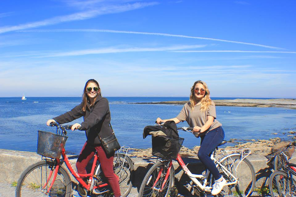 Mercyhurst students Bridget Jacob and Josephine Wright take a 14-mile bike ride around the Aran Islands in Ireland.