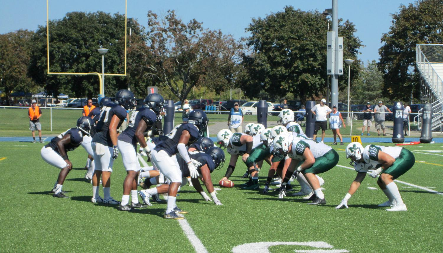 The Lakers offense gets ready to snap the ball during late second quarter. The Sept. 23 game against fellow PSAC West opponent Clarion University resulted in a 21-18 victory for the Lakers.