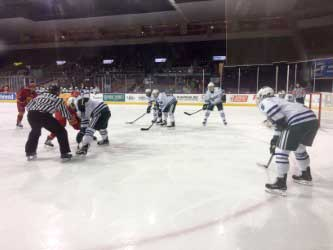 The Lakers get ready for the puck to drop in the second Snowtown Throwdown game against Ferris State.