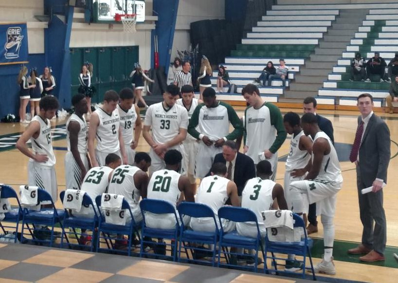 The Lakers huddle for a timeout. Monday's 30-point blowout against Roberts Wesleyan lifted the Lakers to a 4-1 record for the season.