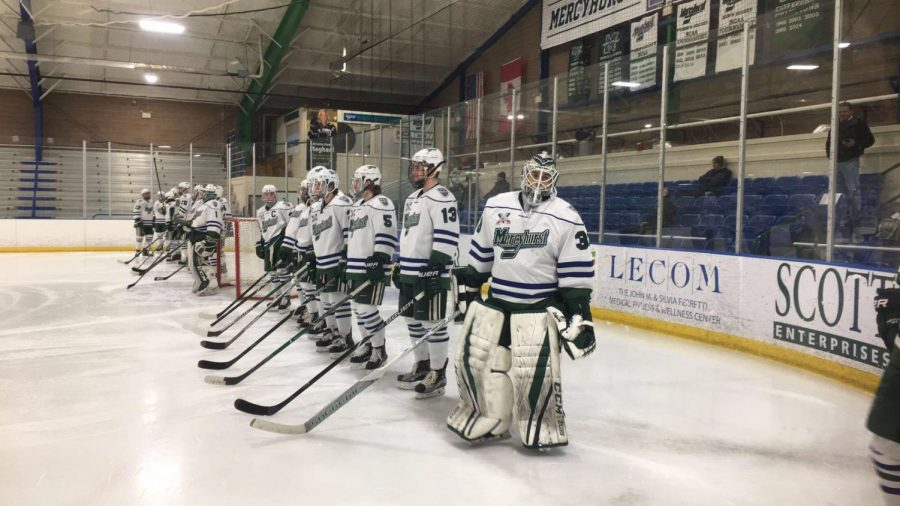 The+Lakers+line+up+before+their+game+Feb.+17+in+the+Mercyhurst+Ice+Center.++The+Lakers+beat+Robert+Morris+University+twice%2C+including+a+3-2+overtime+win.