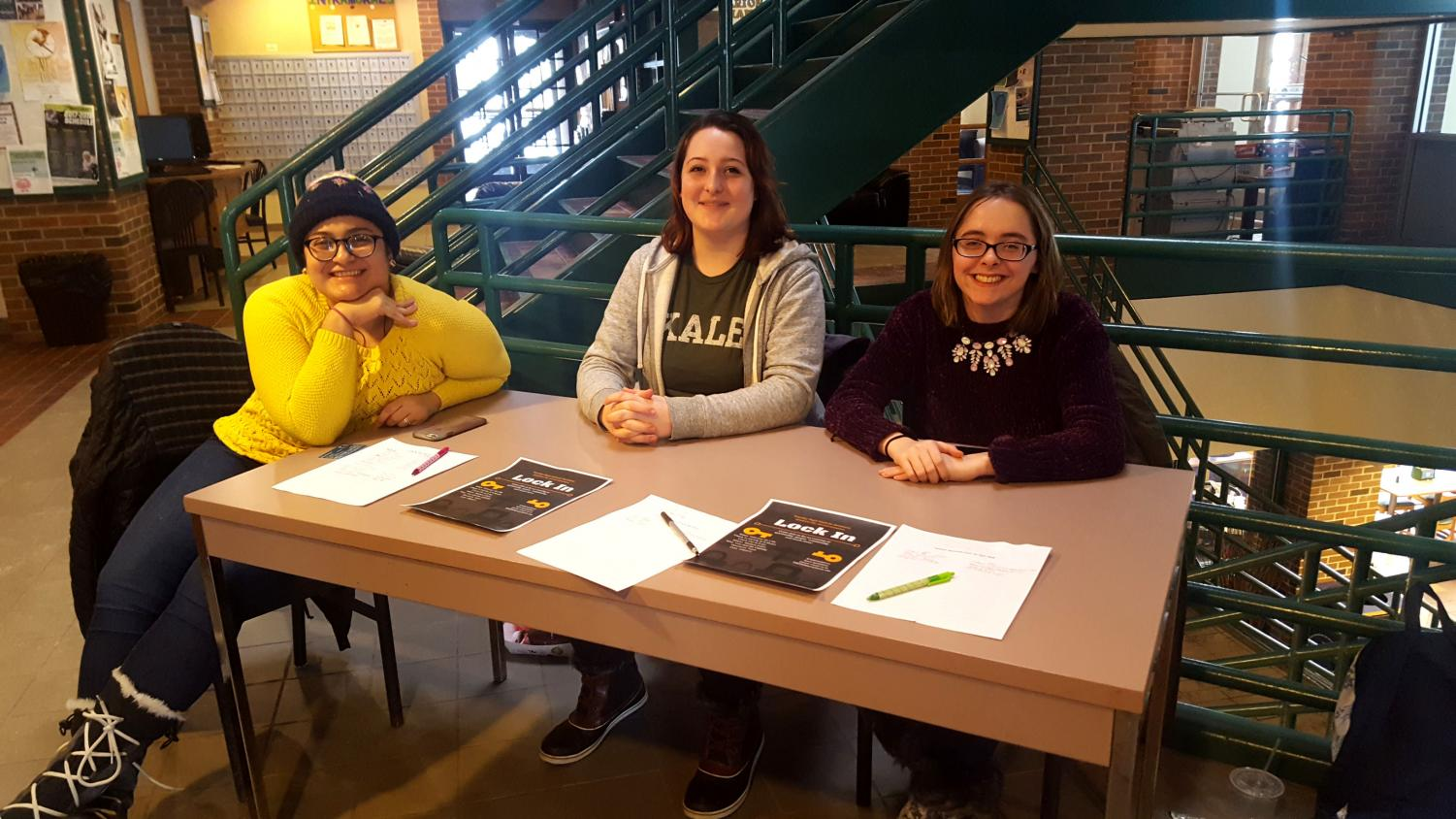 Leaders Maria Montoya, left, Julia Lesko, center, and Allie Schweiger, along with others, have been hard at work advertising for and planning this year's Lock-In.