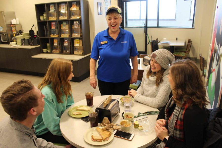 One of Rhonda Blount's favorite parts of working at the Grotto Commons is having the opportunity to get to know students and learn about their lives.