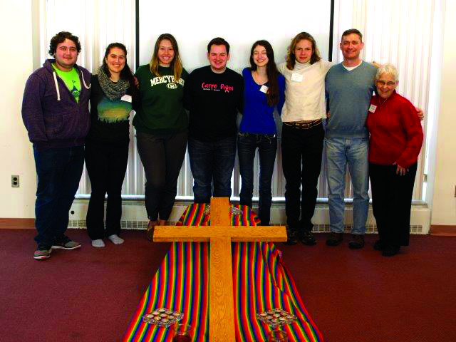 From left: Sergio Cortes, Niusha Karkehabadi, Kimmie Kramer, Chandler Brandetsas, Catherine Erway, Paul Cohen, Greg Baker and Sister Natalie Rossi attend the silent retreat.