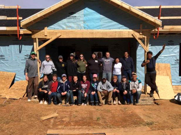 Mercyhurst students traveled to Monroe, North Carolina, for the Habitat for Humanity trip.