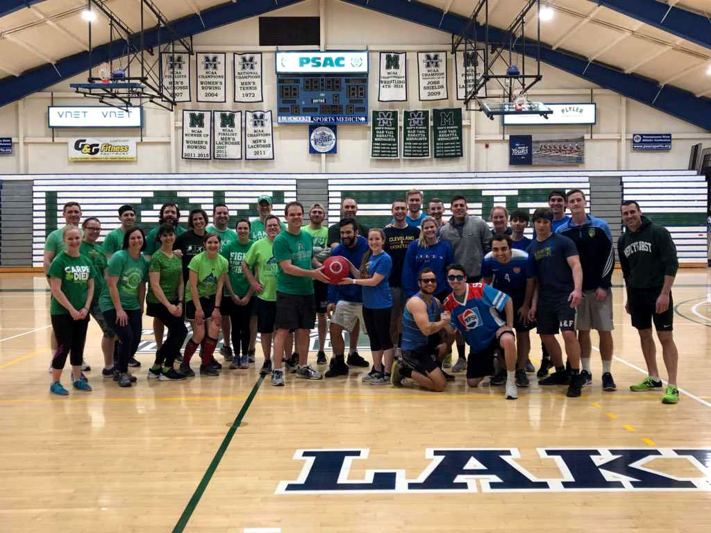 Faculty and staff get ready to face off against the senior team in a kickball game to raise money for the Class of 2018 Senior Gift, the Sister Lisa Mary McCartney scholarship.