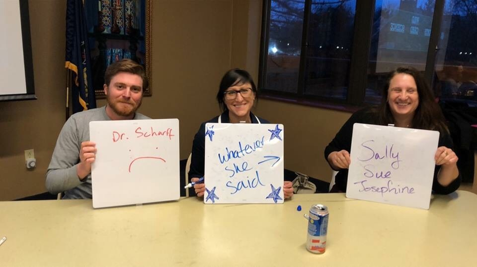 Students faced off against professors Benjamin Scharff, Ph.D., of the History department, LisaMarie Malischke, Ph.D., of the Anthropology/ Archaeology department, and Victoria Rickard, Ph.D., of the Political Science department to see who is smarter. The professors won.