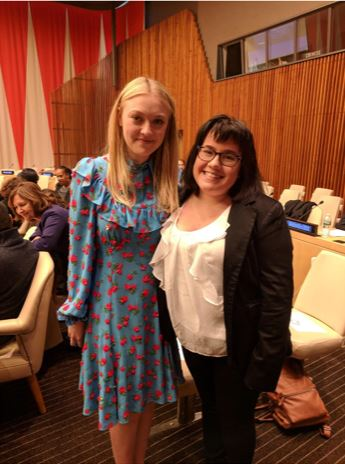 Sophomore Rachel Wilson, left, spoke at the U.N. headquarters in New York and got to meet exciting people, like Dakota Fanning.
