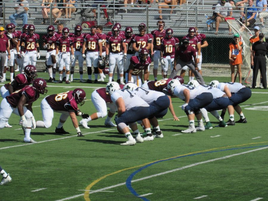 The Lakers defensive line, pictured here held off the Bloomsburg University Wolverines long enough for the offense to pull off a 14-10 win.