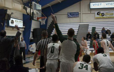 Mercyhurst men's basketball's Trystan Pratapas sinks a three-point shot in a Feb. 16 game against Seton Hill University.