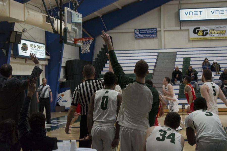 Mercyhurst men's basketball's Trystan Pratapas sinks a three-point shot in a Feb. 16 game against Seton Hill University.