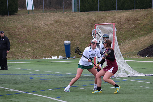 Mercyhurst%E2%80%99s+No.+10+Paige+Cocina+blocks+Gannon+University%E2%80%99s+No.+3+Caroline+Mauck+during+their+April+2+contest+at+Tullio+Field.+Behind+them%2C+No.+25+Kaitlyn+Lippert+is+in+goal+for+the+Lakers.