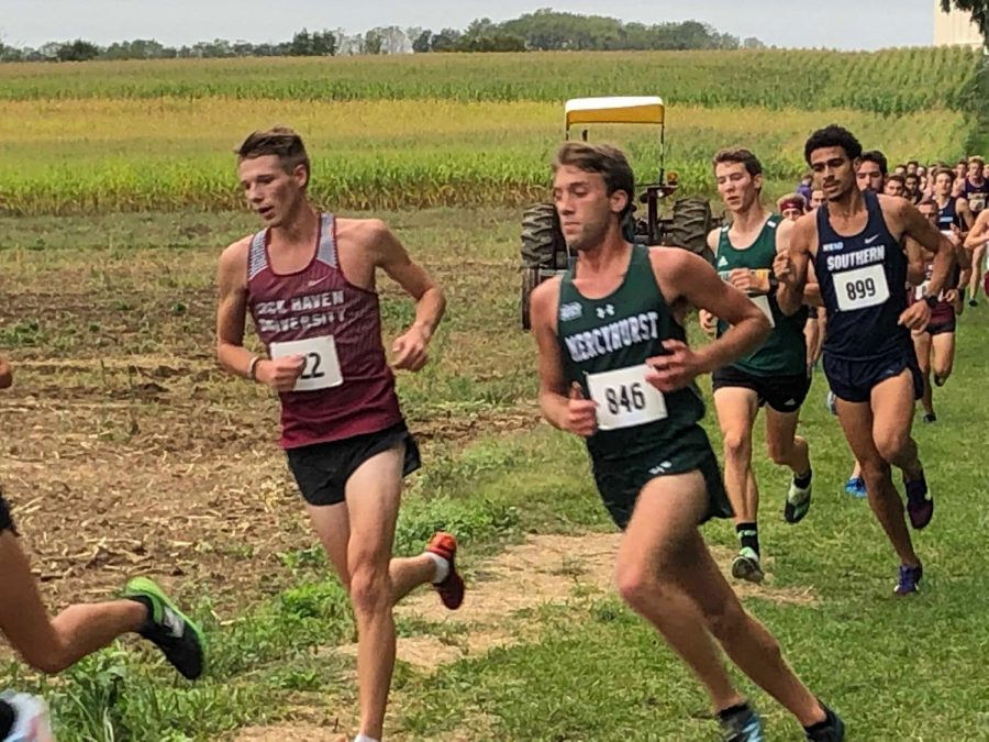 Mercyhurst's Benjamin Barnes runs with a pack of racers through a field during Saturday's race.  The men placed 12 out of 15, while the women's team placed sixth.