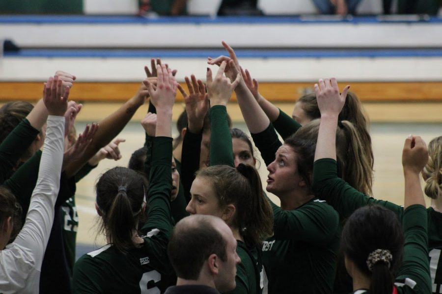 The Lakers huddle at the end of their set against Lock Haven University Saturday. With two 3-0 victories, the Lakers now have ten wins on the season.