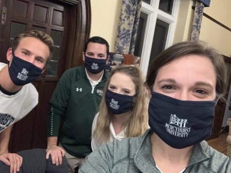 Tour guides for the alumni Haunted Hurst event included Mercyhurst staff members Mitchell Marsh (left), Ryan Palm, Meaghan Hubert and Lindsay Frank.