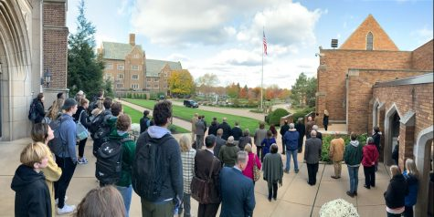 The 2019 Veterans Day flag raising brought groups of people from throughout campus to recognize the sacrifices made by those who serve in the military. This year the event will be socially distanced.