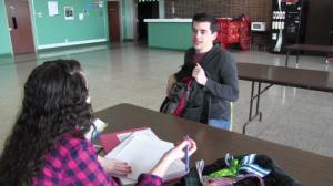 Contributed photo: Junior Chris Gaertner and Mercyhurst Preparatory junior Katie Conti act out a scene in the cafeteria.