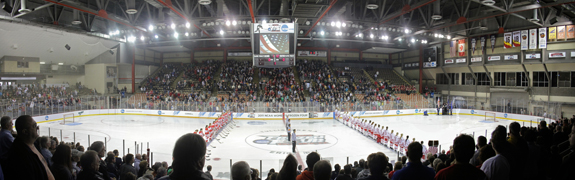Ethan Magoc photo: Boston University and Wisconsin stand at center ice during the playing of the national anthem on Sunday, March 20, 2011 at Tullio Arena.
