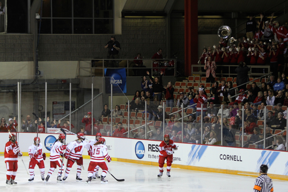 Ethan Magoc photo: Wisconsin players celebrate their first goal during the second period on Sunday, March 20, 2011 at Tullio Arena.