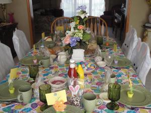 Contributed photo: Junior Angela Staszak and her family decorate their dining room table for Easter.